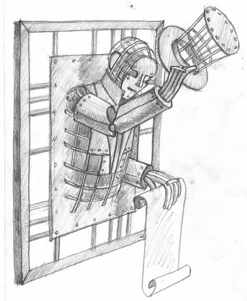 Эскиз вывески джентельмен с афишей в руке